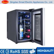 Refrigerador de vino termoeléctrico de la luz del LED de la puerta de cristal del espejo