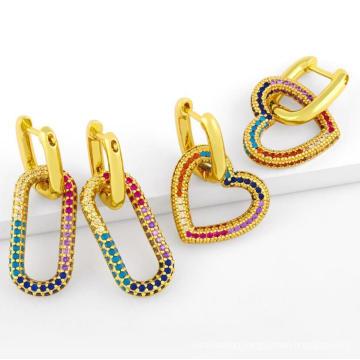 18K Dubai Gold Plated Oval Love Heart Hoop Earrings Jewelry Rainbow Diamond Hoop Earrings for Women