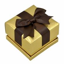 Wholesale Golden Box Brown Ribbon Earring Box