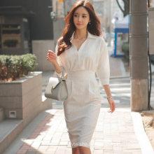2020 Summer New Korean Elegant Professional Office Lady Lapel Five-point Sleeve Striped Slim Fit Long Hip Dress