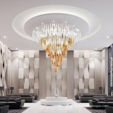 Lámpara de techo led de cristal dorado grande para salón de banquetes