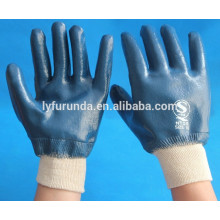 Blue nitrile coated cotton woven interlock lined oil resistant working gloves