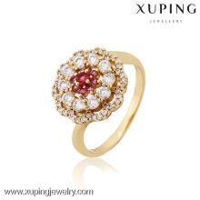 12824 anillos de bodas en forma de flor chapados en oro Xuping joyería de moda