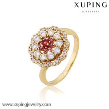 12824 Xuping moda jóias banhado a ouro flor em forma de anéis de casamento
