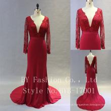 Beautiful Long Chiffon Applique projetado de alta qualidade vestido de noiva vestido de dama de honra