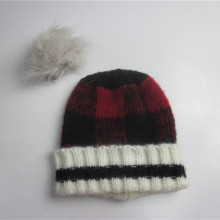 Desmontable Pompom Plaid Cuff Beanie