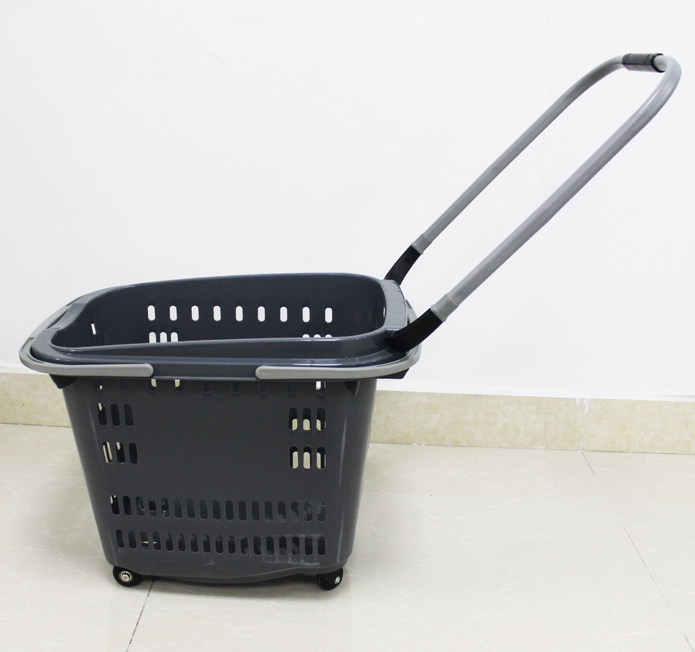grey color plastic shopping basket 1
