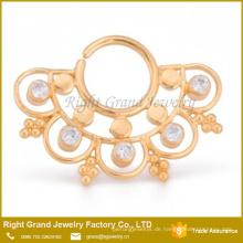 Vergoldet 16G Sunny Days biegsamen Kristall Septum Piercing Ring
