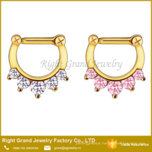Stainless Steel Prong Setting Cubic Zircon Clicker Septum Ring