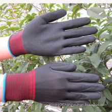 13 Gauge Nylon Gloves Back Sandy Finish Nitrile Coating Work Glove