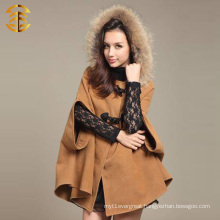 Hot Selling Women Cashmere Cape With Real Raccoon Fur Collar