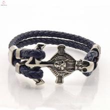 Punk mode pas cher corde hommes en acier inoxydable ancre bracelet