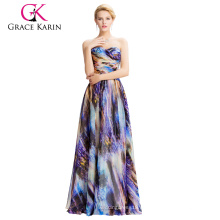 2016 Grace Karin Strapless vestido de bola de gasa multi colores vestido de baile de fin de curso GK000036-1
