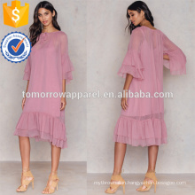 Loose Fit Pink Three Quarter Length Sleeve Ruffled Midi Summer Dress Manufacture Wholesale Fashion Women Apparel (TA0241D)