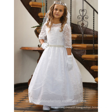 Children Wedding 2-12 Years Old girls Birthday Medium Sleeve Lace Ball Gown Flower Girl Dresses Pattern Kids Party Wear LF13