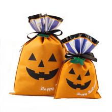 Sacos de presente de plástico laranja Halloween Design abóbora