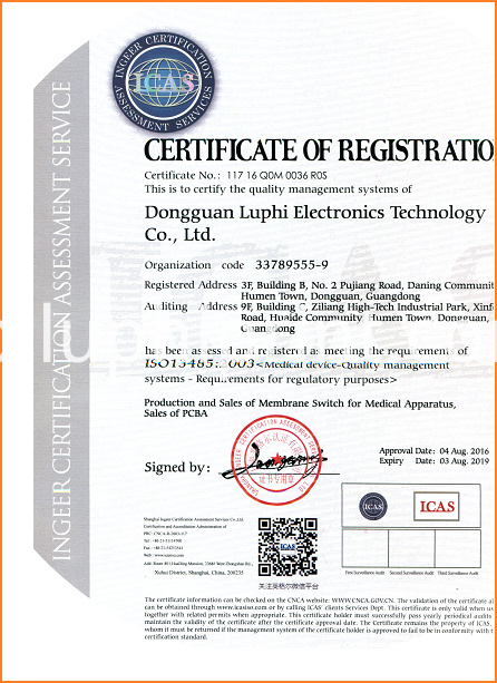 LUPHITOUCH ISO13485 Certificate