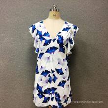 Robe imprimée papillon en polyester pour femmes