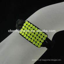 França fecho magnético veludo pulseira de cristal amarelo BCR-012-2