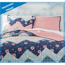 Zig-Zag de flores de cerezo impresas algodón edredón cubierta de ropa de cama