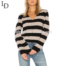 New fashion style loose oversized women cashmere v neck striped sweater