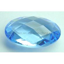 Semi-Precious Piedras de Checker Oval Aquamarine