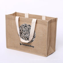 High Quality Recycled Custom Burlap Jute Bag Shopping Tote with Webbing Handle
