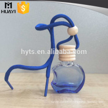 blue color apple shape hanging glass perfume car bottle