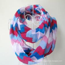 Frau Mode Welle gedruckt Polyester Chiffon Infinity Schal (YKY1099-3)