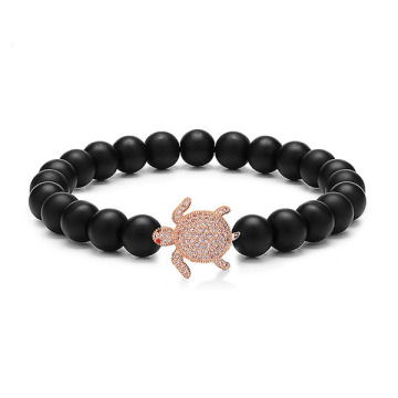 Natuursteen Tortoise Charms Matte Agate Bead Armband