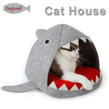 China Pet Supplies Cat Condo Shark Design Cat Cave With Removable Mat
