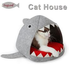 China Pet Suprimentos Cat Condomínio Tubarão Design Cat Caverna Com Esteira Removível