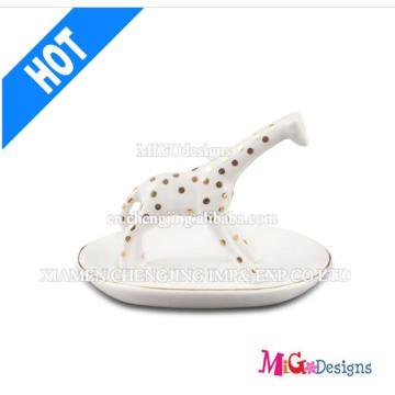 Decoração de Natal New Arrival Ceramic Giraffe Ring Holder for Gifts