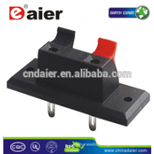 Daier WP2-2 2 Pin Red& Black Clip Spring Terminal Wire Terminal Connector; Connectors