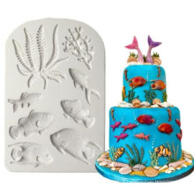 DIY Fondant Chocolate Fondant Dry Pace Fish Mold Marine Animal Silicone Mold