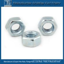 Tuerca hexagonal BSW chapada en zinc blanco