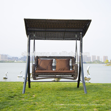 New arrival metal wicker hanging swing chair 2 seat for adult cushion with canopy outdoor furniture