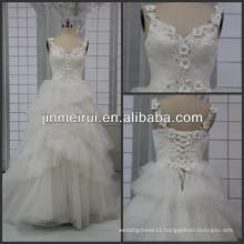 New Arrival Sweetheart Beaded Appliqued Floor Length Spaghetti Strap Layered Skirt Designer A-line Real Wedding Dresses 2016