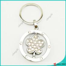Clear Crystal Metal Flower Charms Keyrings (KR16041918)
