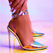 pointed toe sexy stiletto summer  high heel banded strap on clear colorful  lady sandals party pump shoes