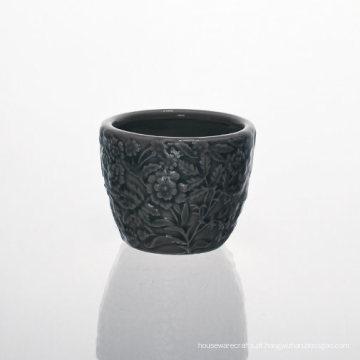 Vaso De Cerâmica Redondo Cinza Com Lindos Padrões De Flores