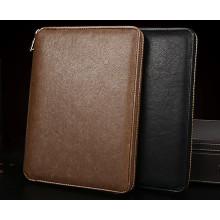 PU material cremallera nuevo diseño de Brown hoja suelta cuadernos papelería cuaderno