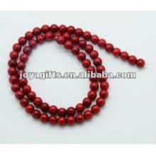 Perles rondes de corail rouge de 6MM