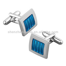 Classic High Quality Blue/ Silver Stainless Steel Square Cufflink