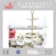 Тонкий костяной фарфор чайный набор навалом тонкий волна чашка блюдце торт стенд оптом