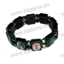 Plastikschwarzes Rosenkranz-Armband mit Heiligem Bild, Art- und Weisearmband