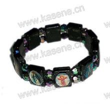 Plastic Black Rosary Bracelet with Saint Image, Fashion Bracelet