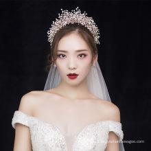 Cristal de lujo hecho a mano Popular princesa boda accesorios para el cabello coronas tiaras y velos nupciales