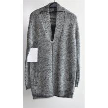 Inverno v-pescoço casaco de malha longo com zíper para homens