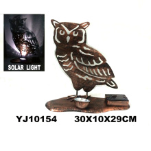 Classical Metal Rusty Owl W. Solarlight Garden Decoration